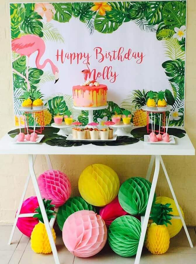 simple tropical flamingo party decoration Foto Pinterest