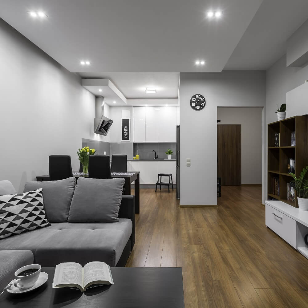 decoração para quitinete com piso de madeira e sofá cinza