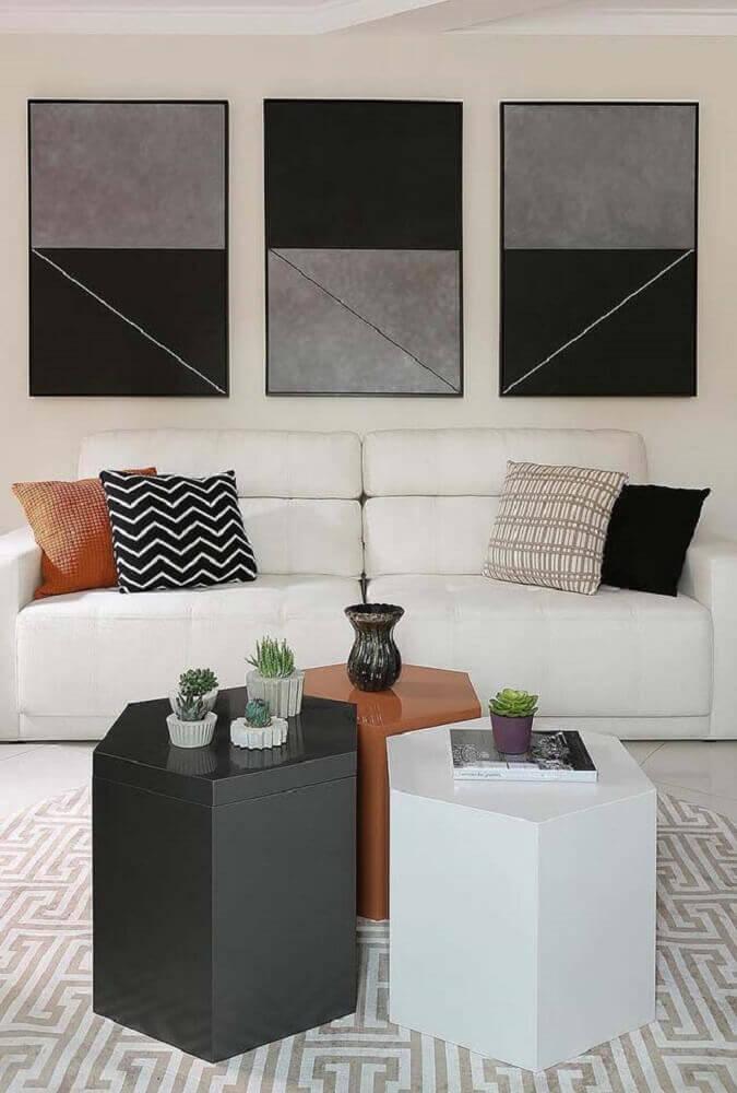 decoração para sala de estar moderna com móveis laqueados Foto Pinterest