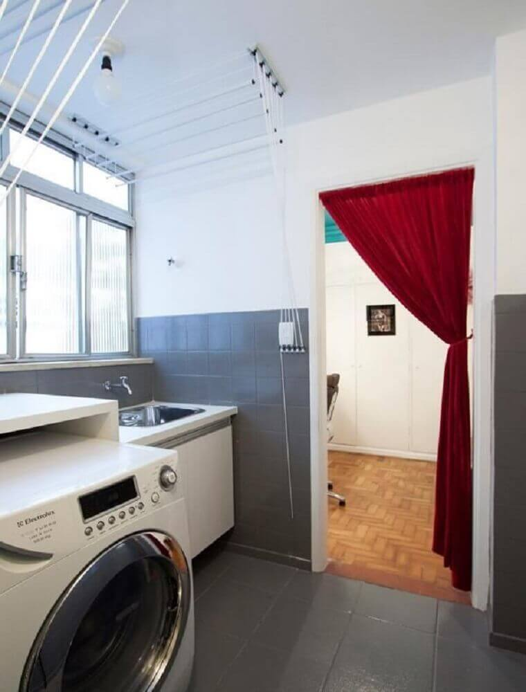 decoração simples para lavanderia branca e cinza Foto Buji Decoração