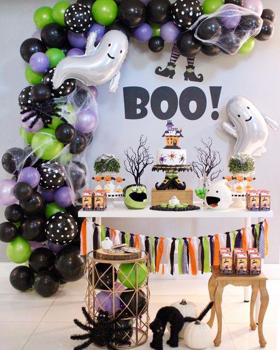 Decoração de halloween na festa moderna
