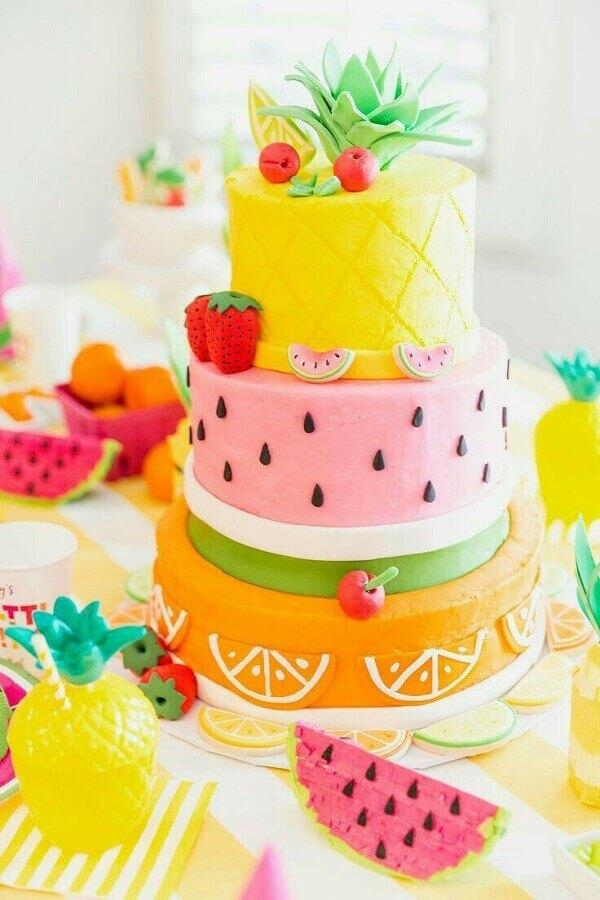 lindo modelo de bolo tropical Foto Pinterest