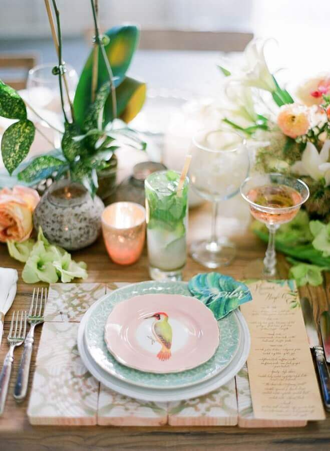 tropical party tableware Foto Pinterest