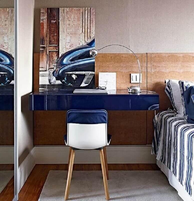 móveis laqueados para quarto com home office pequeno Foto Pinterest