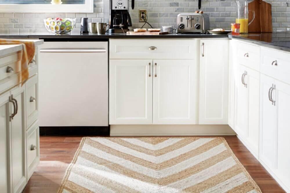modelo de tapete para cozinha com estampa em tons neutros Foto Family Cook Ware