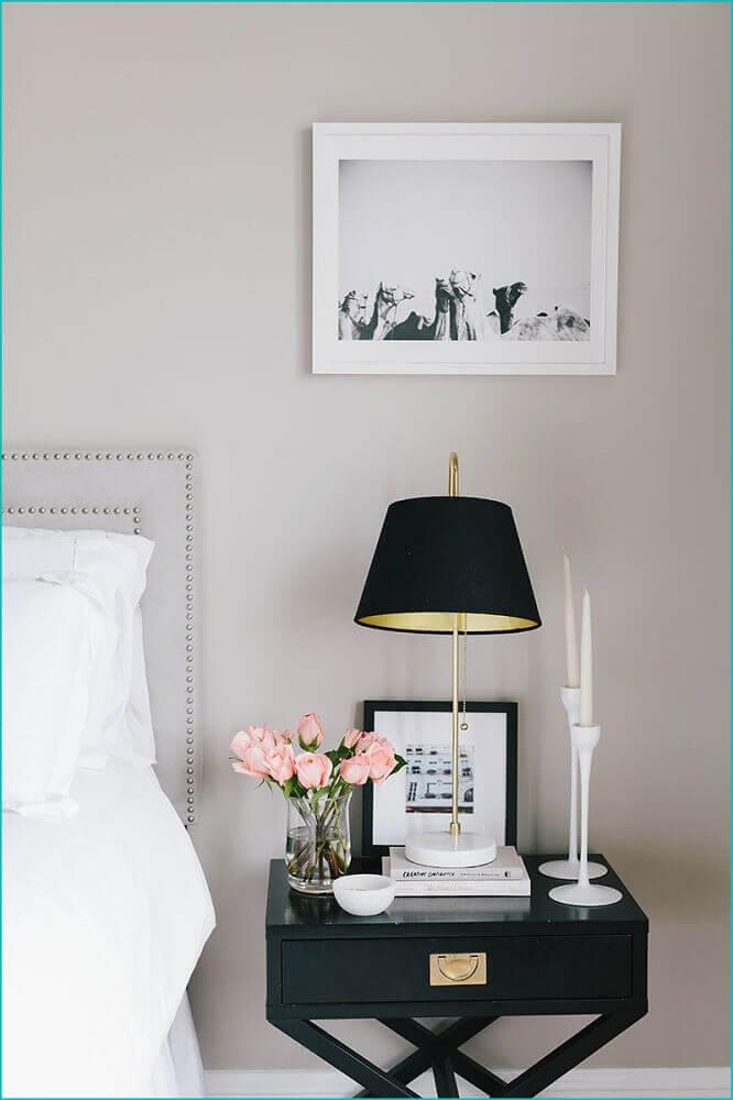 modelos de criado mudo - decoração para quarto com criado mudo preto Foto Home Interior Design Ideas