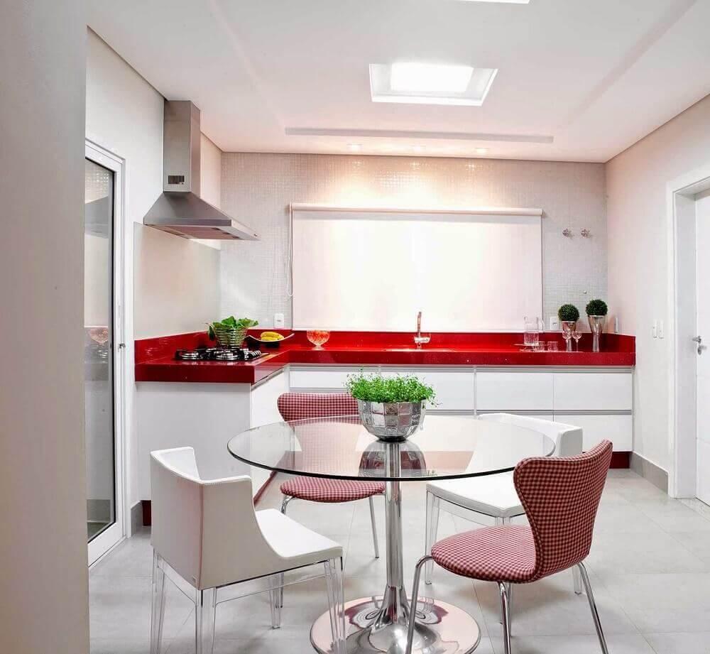 modelos diferentes de cadeiras modernas para cozinha com mesa redonda de vidro Foto Pinterest
