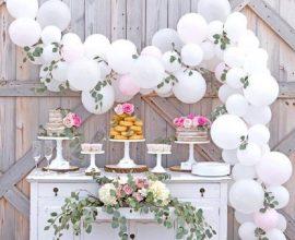 painel de balões e folhagens para decoração de casamento rústico  Foto Foto Party Zealot