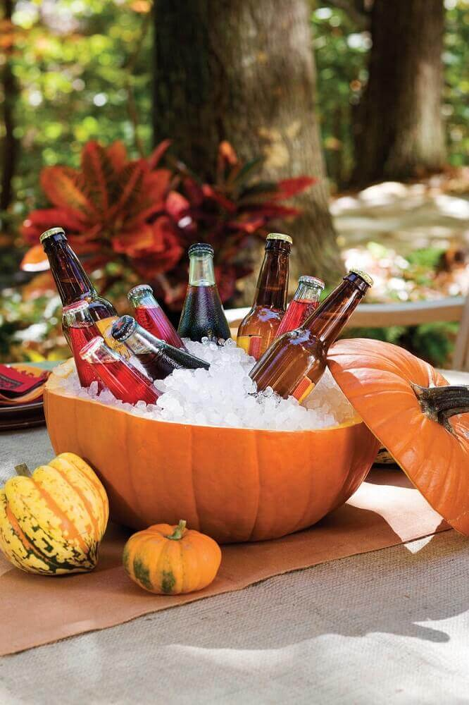 large pumpkin drink holder for Halloween party Photo Southern Living