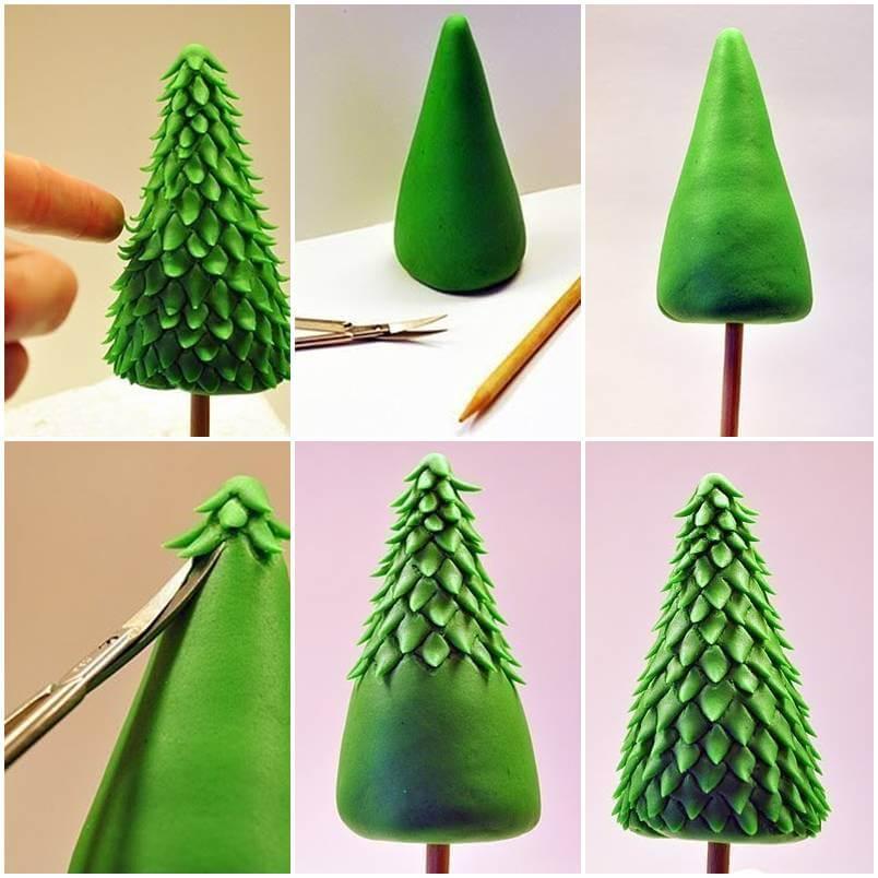 Árvore de natal artesanal com massinha verde Foto de Lepka