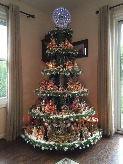 Árvore de natal artesanal com prateleiras Foto de Pinterest