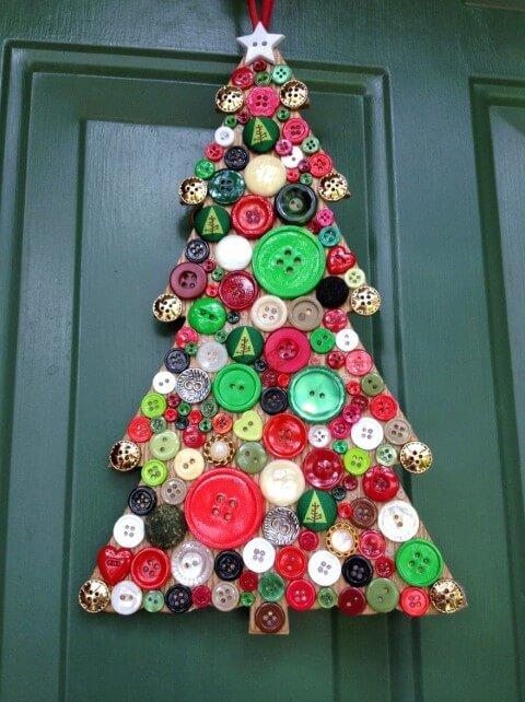 Árvore de natal artesanal como enfeite de porta Foto de Pinterest