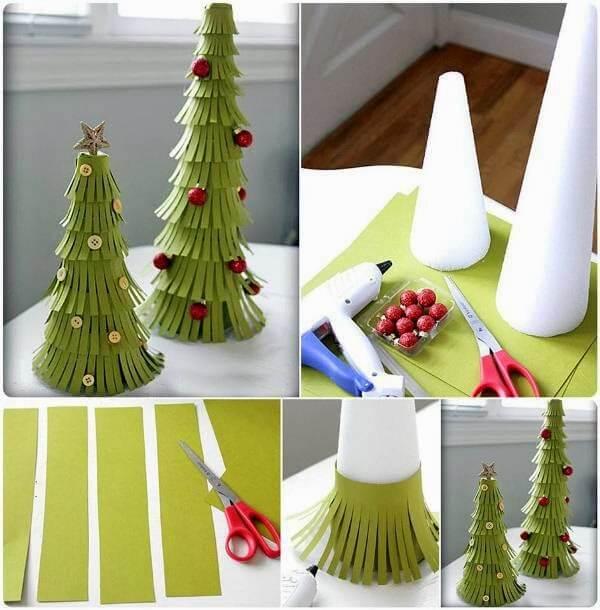 Árvore de natal artesanal de isopor e papel Foto de GooDIY