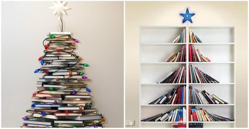 Árvore de natal artesanal de livros Foto de Elite Readers