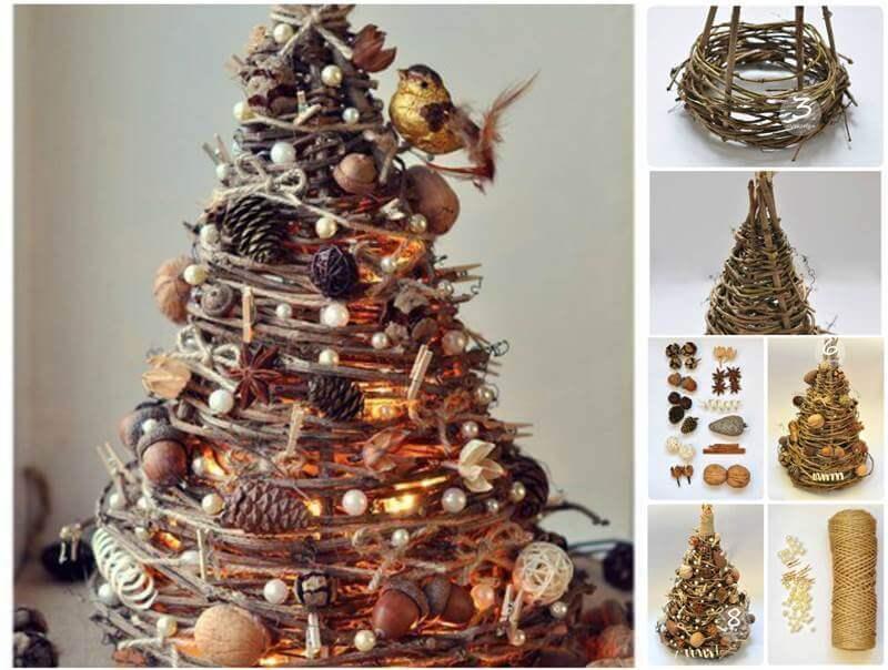 Árvore de natal artesanal feita com materiais naturais Foto de Matrix World