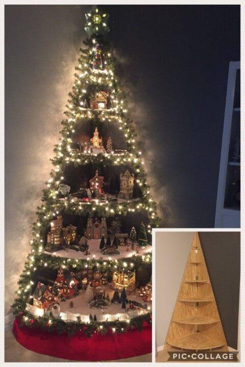 Árvore de natal artesanal feita com uma estrutura de madeira Foto de Kitchen Fun With My 3 Sons