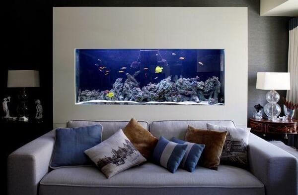 Animais para apartamento aquário com peixes na sala de estar