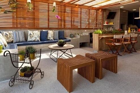 Banco de concreto em varanda gourmet Foto de Habitissimo