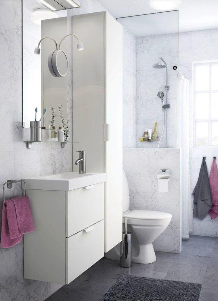 Banheiro Planejado com decoração clean Foto Ikea