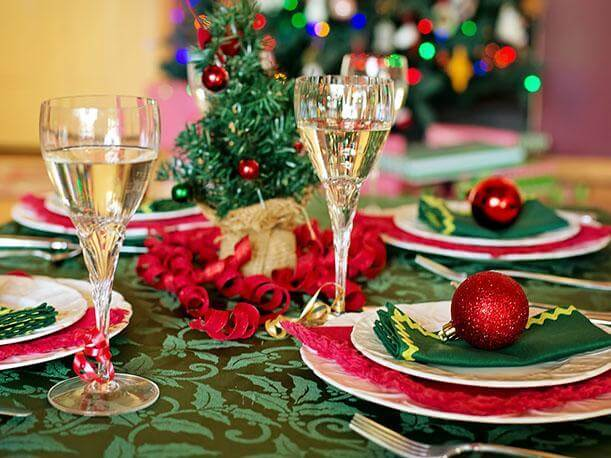 Christmas supper with glasses with champagne Photo from Peru