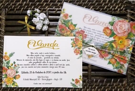 Convite jardim encantado com flore em tons de laranja Foto de Ateliê das Horas Vagas