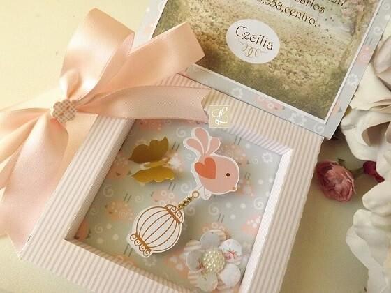 Convite jardim secreto em caixa florida aberta Foto de Lembrança Perfeita