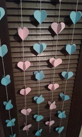 Cortina de coração azul com rosa Foto de Inspira Arte & Sabor