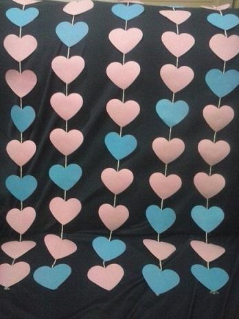 Cortina de coração azul e rosa Foto de Selma Viana