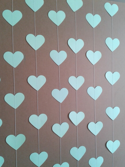 Cortina de coração de papel azul Foto de Ateliê Rocha