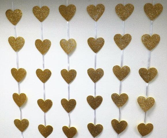 Cortina de coração dourado Foto de Fazendo Arte com Tonton
