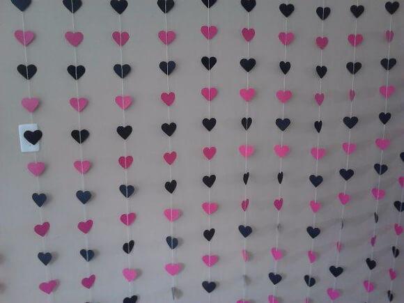 Cortina de coração rosa e preto Foto de Atliê Imperium