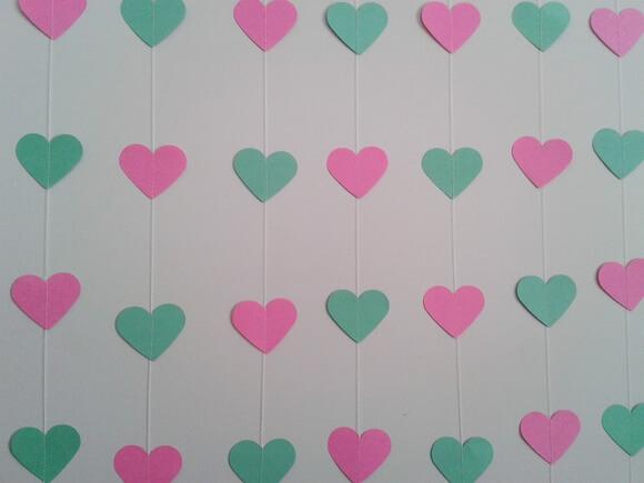 Cortina de coração verde e rosa Foto de Ateliê Rocha