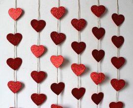 Cortina de coração vermelho com glitter Foto de Ele&Ela