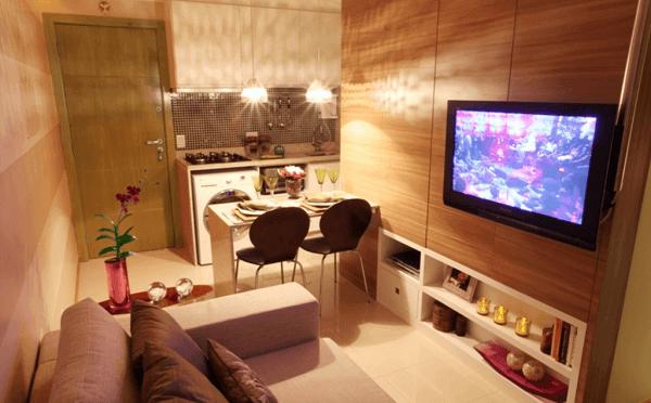 Cozinha americana pequena com sala simples e bonita