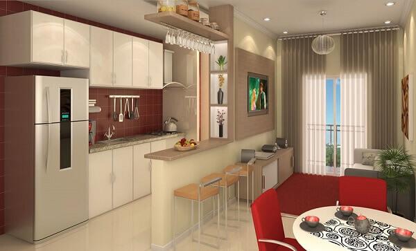 Cozinha americana pequena e sala simples