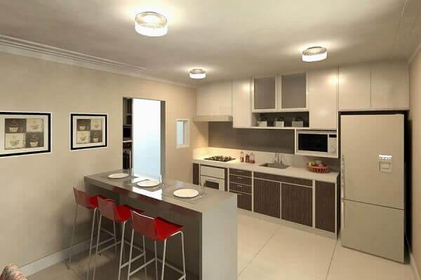 Cozinha americana pequena simples e bonita
