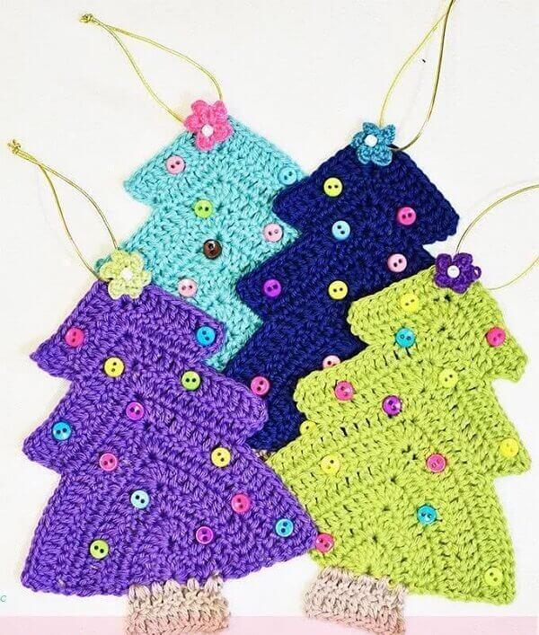 Decoração de natal simples e barata árvore em crochê