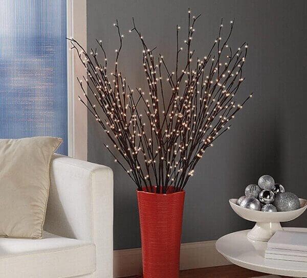 Decoração de natal simples e barata com luzinhas pisca pisca