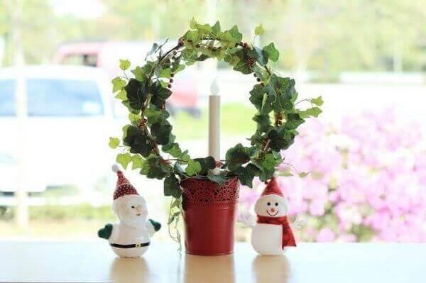 Decoração de natal simples e barata guirlanda de mesa