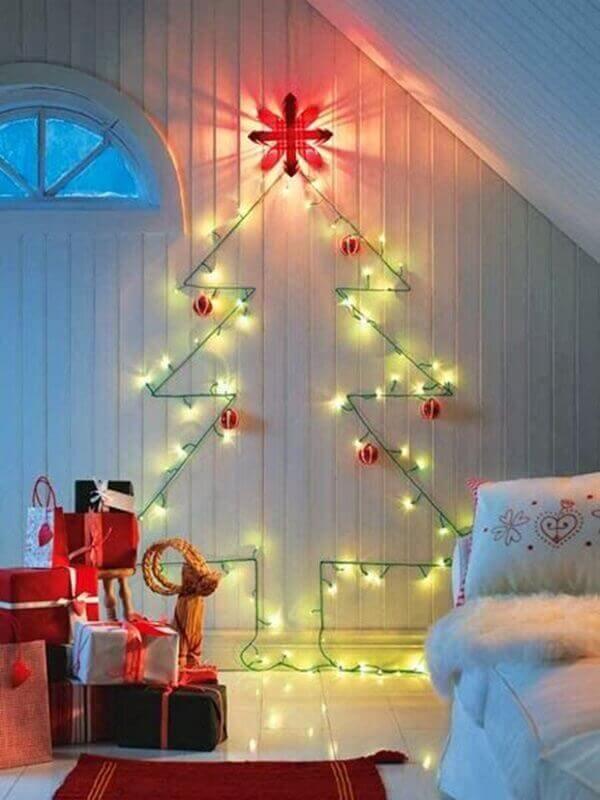 Decoração de natal simples e barata luzes pisca pisca