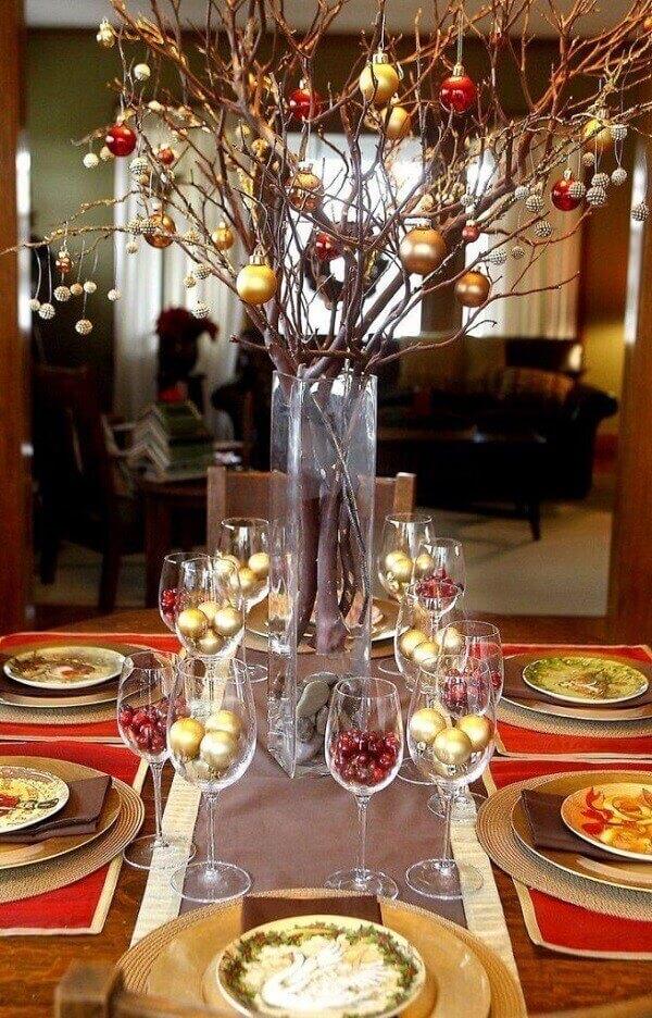 Decoração de natal simples e barata mesa de jantar