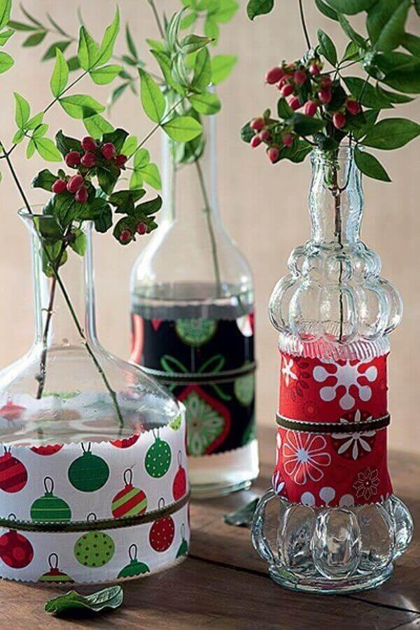Decoração de natal simples e barata revestida com retalhos de tecido