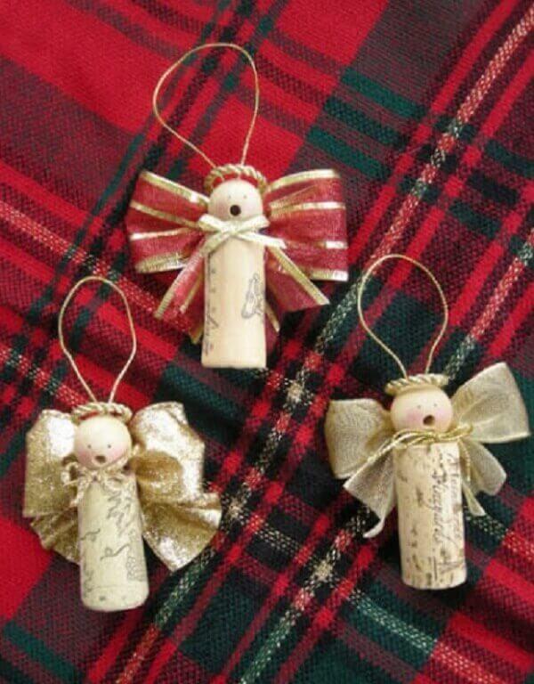 Decoração de natal simples e barata rolhas para fazer anjinhos