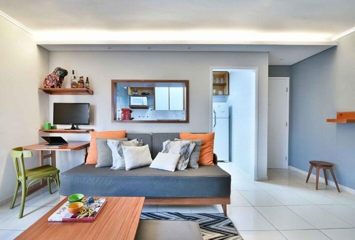 Decoração de sala com cantinho para o home office Projeto de Move Móvel
