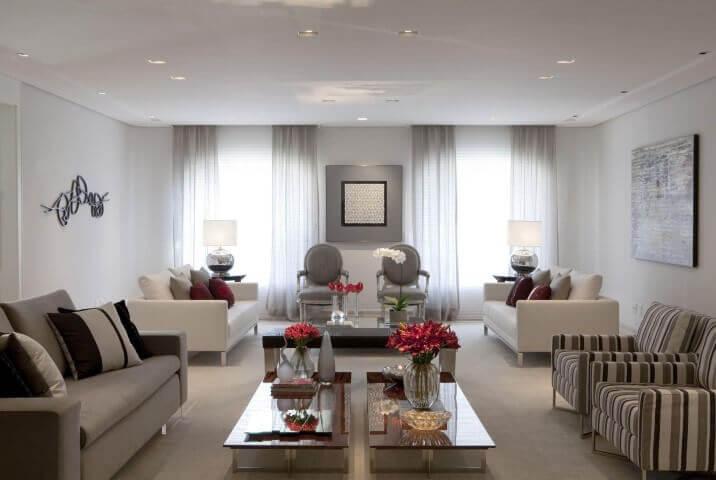 Decoração de sala de estar com dois ambientes Projeto de Marcelo Rosset
