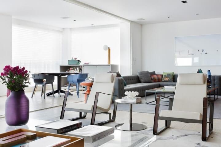 Decoração de sala integrada com dois ambientes Projeto de Suite Arquitetos