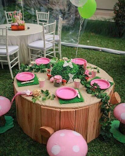 Decoração jardim encantado com mesa infantil Foto de A Minha Festinha