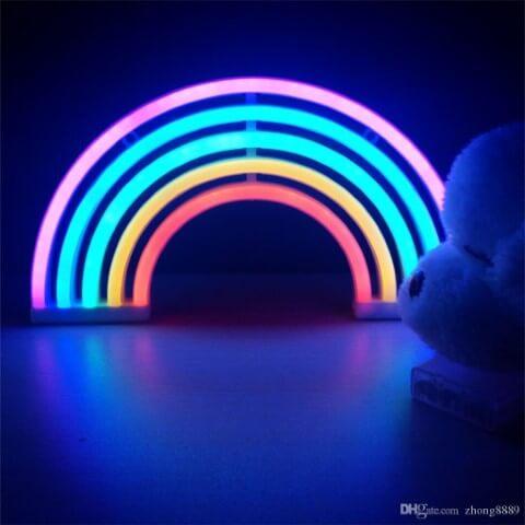 Decoração neon com luminária em formato de arco-íris Foto de DHgate