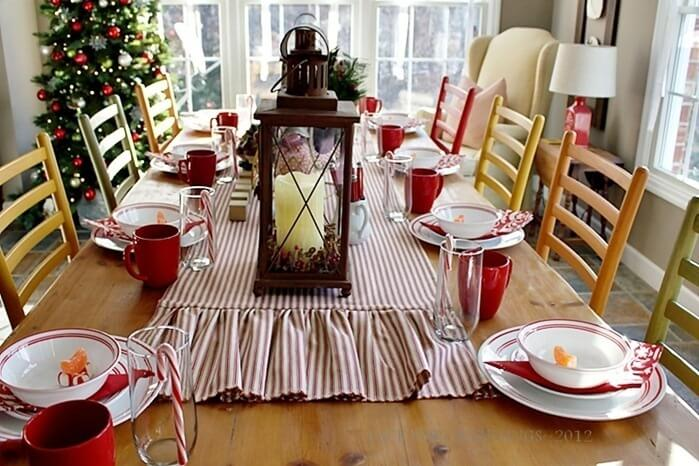 Simple Christmas dinner table decoration with white and red dining appliance Photo by Carla Aston