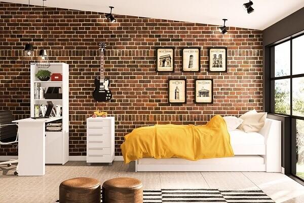 Decorando quarto para jovens com parede de tijolinhos